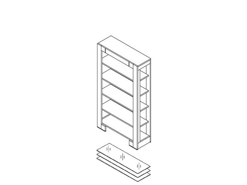 Шкаф библиотечный о1004р открытый (с полками из плиты).
